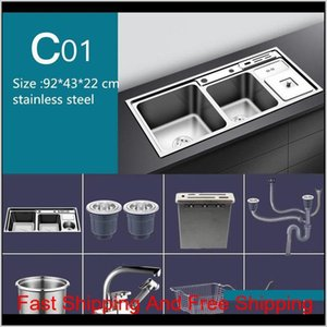 Stainless Steel Nano Sink Three Trough With Trash Can Knife Holder Sink Brushed Silver 92 * 43Cm Sink Set Kitchen Sinks Rvx7F Hhzyt