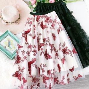 Borboleta Mulheres Bordadas Saias Long Mesh Tutu Skirt 2021 New Heavy Work Fairy Tule Saias para mulheres Faldas SaiS