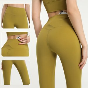 Lulu New Naked Sense Fast Dry Yoga Pants Peach Hip Dance Training Stretch Slim Fitness Capris Female