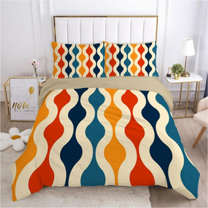 3D Duvet Quilt Cover Set Bedding Sets Comforter Bed Linens Pillowcase King Queen Full Double Retro Geometric Stripe Home Texitle