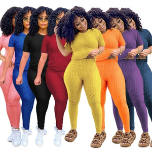 Women Designer Clothes 2021 New Tracksuits Summer Round Neck Solid Short Sleeve Two Piece Yoga Pants Sports Suit Outfits