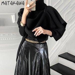 Matakawa Korean Chic Temperament Cuello alto Babero Mantón Mujer Sujetadores Japonesa Moda Negro Pullovers