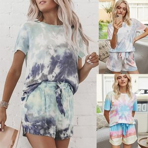 2021 Summer Print Tie-dyed Pajamas Short-sleeved Gradual Color Draw Rope Home Suit Two Piece Outfits for Women