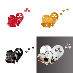 Love Heart Shaped Wall Sticker 3D Home Furnishing Art Decorate Stickers DIY Room Decor Valentine Day BWD4974