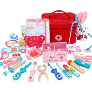 Doctor Toys for Children Set Kids Wooden Pretend Play Kit Games for Girls Boys Red Medical Dentist Medicine Box Cloth Bags 921