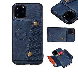 Cas de portefeuille pour iPhone 12 titulaire de carte de crédit Premium Soft PU Cuir Cuir Kickstand Fermeture magnétique Couverture téléphonique iPhone12 Mini