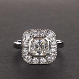 HBP fashion pure silver super flash luxury inlaid high carbon diamond simulation ring square hot sale