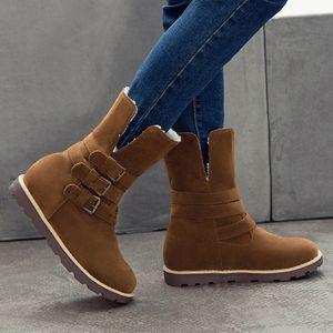 Botas para mujer de invierno 2019 Dos desgaste cálido Piel Boots Snow Boots Fashion Comfort Plataforma Hebillas Zapatos Mujer Peluche 2019 A1ld #