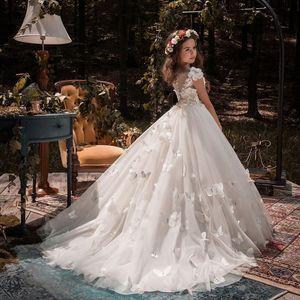 Новый милый цветок девушка платье из тюля бисером аппликации пагентные платья для девочек первые причастия платья детские носить