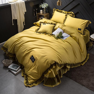Solid Color Luxury Bedding Set Queen Size Queen Comforter Sets Europe Bedding Duvet cover BedSheet PillowCase 4 Pcs