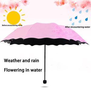 Umbrellas Ladies Portable Windproof 3-Folding Blossoms In Water Changes Color Anti-UV Sun Rain Umbrella DCS