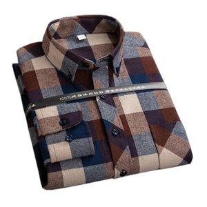 Мужские повседневные рубашки плед для мужчин плюс размер досуг мужская 100% хлопок зима теплая фланель клетчатый по футболу с длинным рукавом