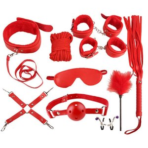 Bondage Sex Toys For Couples Accessories Sexy Leather BDSM Kits Plush Set Handcuffs Games Whip Gag Nipple Clamps