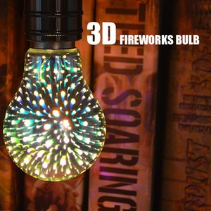 Lighting 3D Fireworks Light Bulb Christmas Tree 5W E27 E26 Colorful LED Glass Decorative Lamp for Holiday Shape usalight