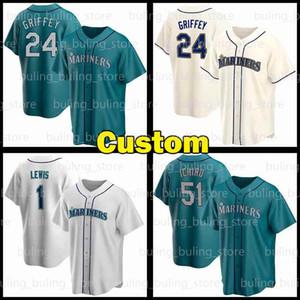 Mariners Jersey Özel Seattle 24 Ken Griffey Jr. 17 Mitch Haniger 51 Ichiro Suzuki 11 Edgar Martinez 1 Kyle Lewis J.P. Crawford