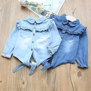 New Style Spring Baby Girls Blouse Turn-down Collar Ruffles Children Cownboy jeans Shirts Kids High Quality Outerwear 210305