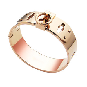 Hot sale Titanium steel buckle four nail design punk bangle with gold plated and H words for man and women bangle in size 5.9*4.8cm