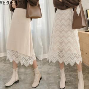 Werueruyu вязаные кружевные юбки для девочек женская средняя длина осенью зима 2021 высокая талия на обеих сторонах кружевная юбка