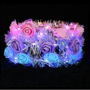 LED Luminous Wreath Glow Flower Crown Headband For Bride Wedding Party Night Market Glow Garland Crown Kid Toy Head Decoration YHM785