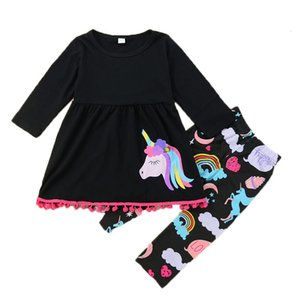 2021 New Girls Knitting Unicorn Outfit 2pcs Set Spring Autumn Kids Children Clothes Sleeve T-shirt and Long Pant Mh4d