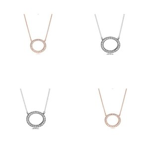 2017 New High Quality Real 925 Sterling silver pendant Rose Gold Color Brand Crystal Necklace Fashion jewelry for Women 33 R2