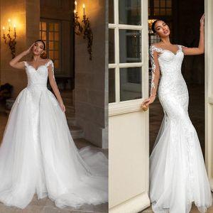 Designer 2021 sereia vestido de casamento branco rendas brancas overskirt Destacable vestidos de nupcial jóia perolização de mangas compridas vestidos de casamento lindo