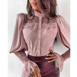 Women's Blouses & Shirts Long Sleeve Chic Lace Blouse Women Elegant Stand Collar Shirt Female Solid Vogue Flare 2021