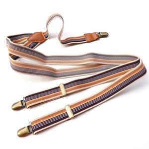 Frenos de rayas elástica con clips de metal adultos accesorios de lujo accesorio unisex pantalón ajustable y espalda pulsadores de metal clip en