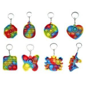 간단한 딤플 Fidget 장난감 푸시 버블 감각 장난감 다채로운 빛나는 부드러운 squishy antistress 키 체인 펜던트