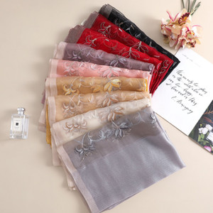 High quality New Fashion 2021 real Silk Scarf for Womens Printed embroidery Spring Winter Shawl Scarf Scarves Size 180x70cm 8 Colors