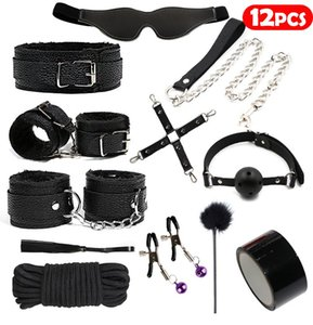 Bondage Erotic Sex Toys For Adult Game Leather BDSM Kits Handcuffs Whip Gag Nipple Clamps SM