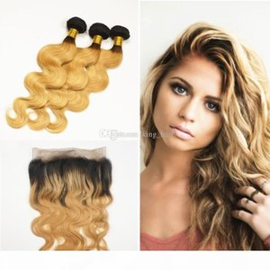 Ombre #1B 27 Hair Bundles With 360 Lace Band Frontal Dark Root Strawberry Blonde Body Wave Virgin Hair Extension With Lace Frontal Closure