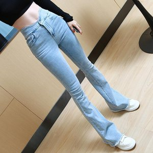 En Salnew Fashion Random Women Vintage Jeans Flare Stretch Denim Ladies High Bloss Casual Broek U Taille Boot Cut Pantalones