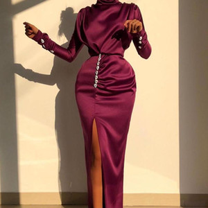 Vintage Elbise Bayanlar Uzun Kollu Seksi Bölünmüş Uzun Elbiseler Parlak Elmas Yüksek Bel Zarif Gece Kulübü Balo Robe Kadın Giysileri