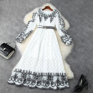 European and American women's clothing new 2021 spring Long-sleeved round collar Fashion embroidered polka dot print dress