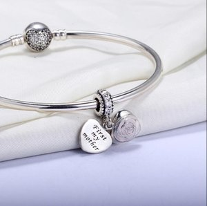 Wholesale Real 925 Sterling Silver Not Plated First My Mother Heart European Charms Beads Fit Pandora Chain Bracelet ps2070