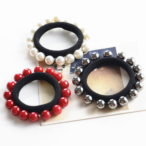 Rubber band new pearl hair rope full circle pearl head rope nailing hair ring horsetail ball hair accessories wholesale