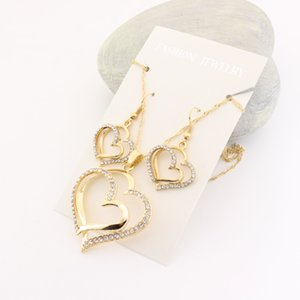 bride Luxury Wedding Necklace and Earring Set Fashion Gold Silver Crystal Charm Heart Jewelry