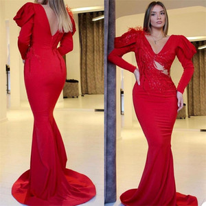 2021 Red Mermaid Evening Dresses with Long Sleeves V Neck Sequins Beaded Sexy Illusion Prom Dress Party Gowns Formal Wear