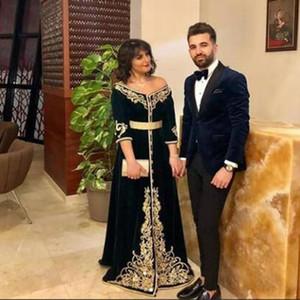 Marokkanische Kaftan Abendkleider Schwarzer Velours aus der Schulter Goldspitze Arabisch Muslim Prom Kleid formale informelle Party tragen
