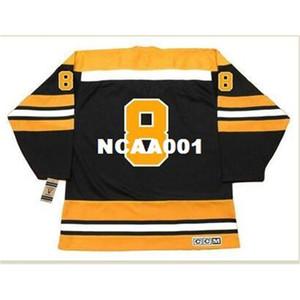 001s # 8 Ken Hodge Boston Bruins 1970 ccm Vintage Away hockey jersey o personalizzato qualsiasi nome o numero di maglia retrò