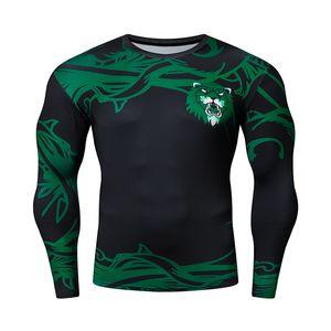 New Green 3D Imprimir Tshirt Tshirt Chinese Style Tops Fitness Correr transpirable manga larga deportes Rashgard Gym Cycling Ropa L0223