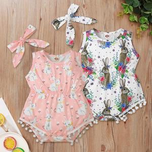 INS Baby Girls Lapin Imprimé Pompom Romper Infant Enfants Vest imprimé Floral Jumpsuits avec bandeau Enfants Vêtements de Pâques pour enfants A5889