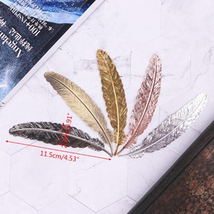 Creative Retro Feather Shaped Metal Bookmark Page Marker For Books Office School Q1JC