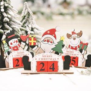 Christmas Decorations Wooden DIY Calendar Creative Santa Snowman Reindeer Countdown Calendar Desktop Ornaments w-01198
