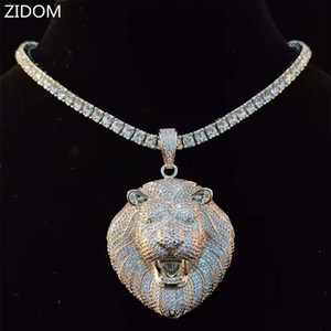 Men Hip Hop Lion 's head Pendant Necklace with 4mm Zircon Tennis Chain Iced out Bling HipHop Necklaces Male jewelry Fashion Gift