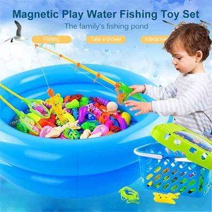 Children Magnetic Fishing Toy Rod Net Child Play Fish Pool Goods Games Bath Outdoor Toys for Boys Boy Kids Girls Bathing Game 210901