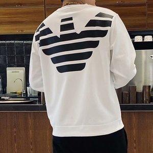 2021 Frühling und Herbst Neue Männer Social Trend Pullover Langarm Rundhals T-Shirt mit Eagle-Träger
