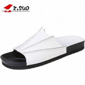Z.suo 2017 летняя мода коллокация корова сплит кожа EVA подошвы мужские сандалии сплошные цветные досуг британский стиль обувь ZS18105 P7CI #