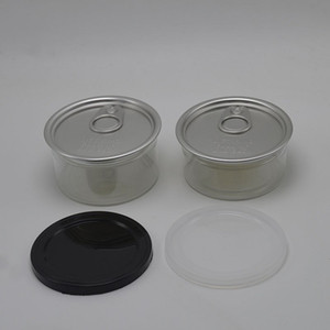 Reusable 3.5g Clear Can Food Grade Flower Packaging Case 100ml dry herb flower PET easy-open end lift ring pull tab Plastic empty GWB5227